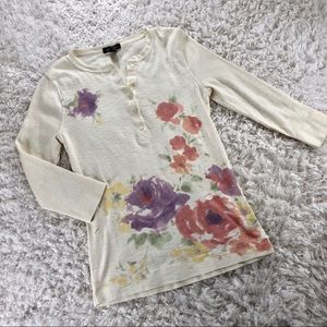 MUTED FLORAL 3/4 SLEEVE COTTON T-SHIRT